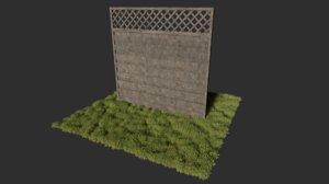 3D modular wooden fence model