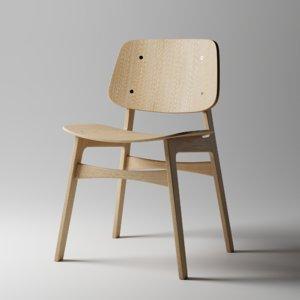 3D minimal modern wooden chair model