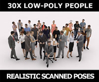 30x LOW POLY CASUAL BUSINESS PEOPLE VOL01 VOL02 CROWD