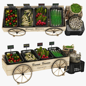 green grocer food stand 3D