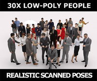 30x MAN WOMAN LOW POLY ELEGANT CASUAL BUSINESS PEOPLE CROWD