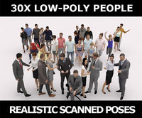 30x WOMAN MAN LOW POLY BUSINESS SUMMER CASUAL PEOPLE CROWD
