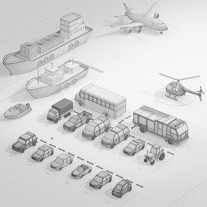car plane aircraft 3D model