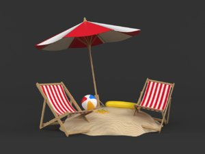 3D beach umbrella chair