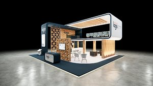 10x10 booth design 3D model