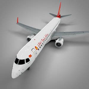 3D tianjin airlines embraer195 l697 model