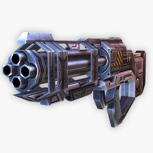 3D model sci-fi machine gun