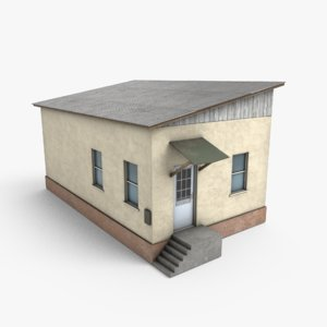 3D ready old shop building model