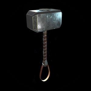 3D hammer mjolnir thor