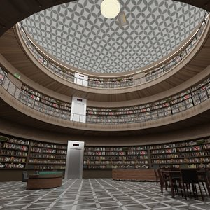 3D public library interior