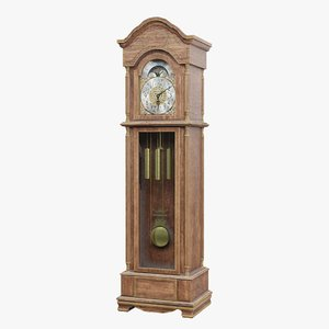 3D antique grandfather clock