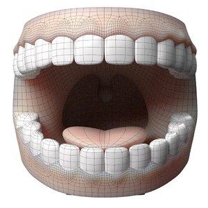 3D cartoon teeth gums tongue model