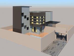 3D model modern house e1