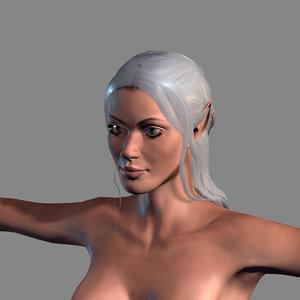 3D woman elf character model