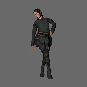 woman elf character 3D model
