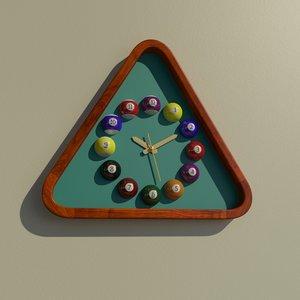 3D triangular billiard wall clock