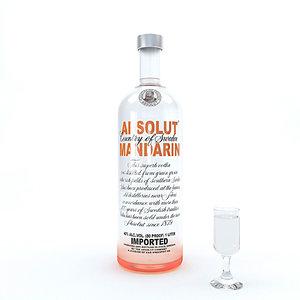 3D vodka alcohol drink