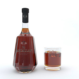3D bourbon alcohol drink