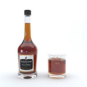 3D bourbon alcohol drink model