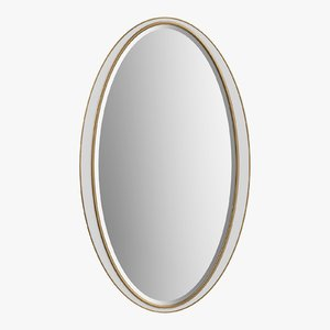 3D mirror white oval