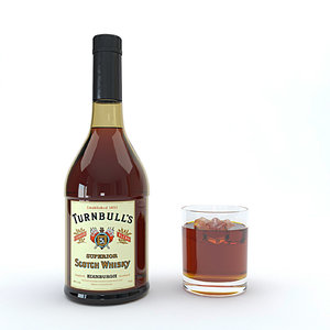 bourbon alcohol drink 3D