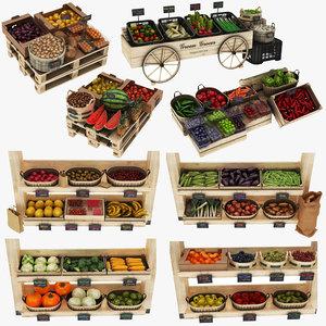 3D model fruit vegatables display stand