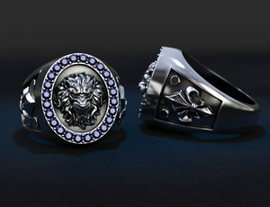 jewellery ring lion patterns 3D