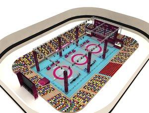 3D model huge wrestling arena 05
