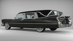 3D hearse wagon cadillac model