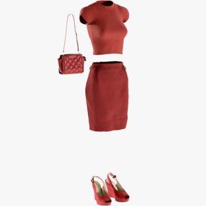 3D realistic women s skirt
