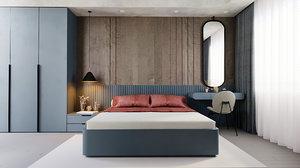 bedroom render corona 3D