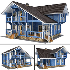 3D model log house - rounded