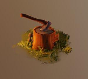 3D model mushroom stump