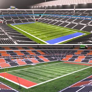 3D football stadiums day night