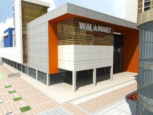 3D model low-poly wallmart shopping mall