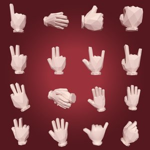 cartoon hands 3D model