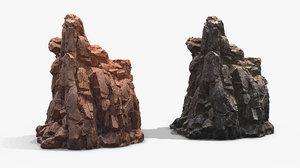 3D rock 4 pbr mossy stone