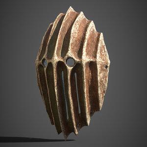 wood carved tribal mask model