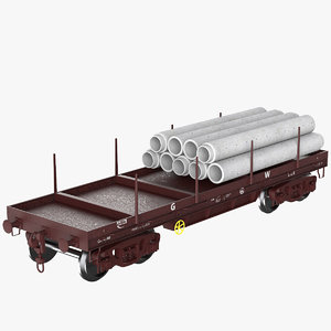 3D freight wagon car