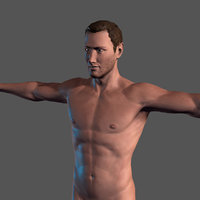 Animated Naked Man Rigged 3d game character