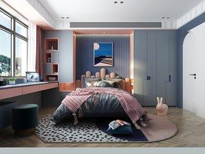 room interior bedroom furniture 3D model