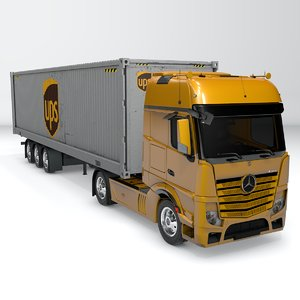 3D mercedes benz actros yellow model