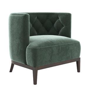 3D bourbon armchair brabbu model