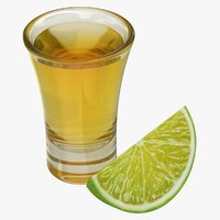 Gold Tequila Shot with Lime