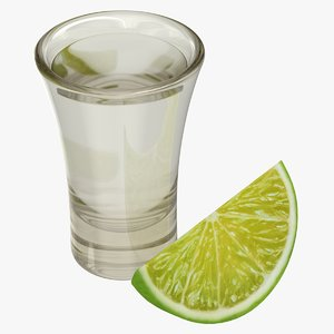 3D realistic vodka shot lime