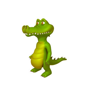 crocodile cartoon 3D model