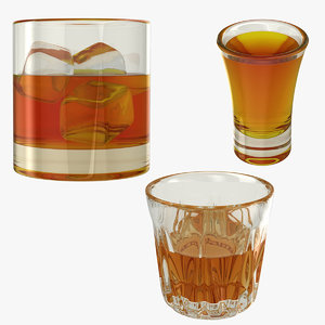 3D realistic glass whisky model