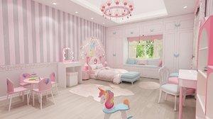 girls bedroom 3D