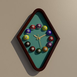 rhombus billiard wall clock 3D model