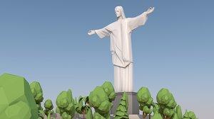 3D model christ redeemer landmark